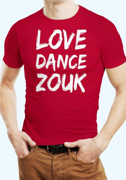 "Man wearing Zouk T-shirt decorated with unique ""Love Dance Zouk"" design in red crew neck style"