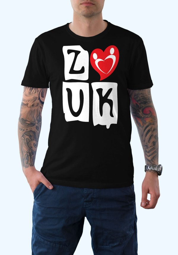 "Man wearing Zouk T-shirt decorated with ""deeply connected Zouk Dancers in a unique heart design (black, crew neck style)"