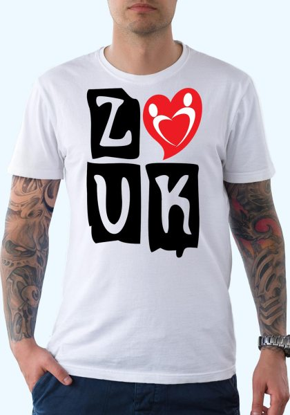 """Man wearing Zouk T-shirt decorated with """"deeply connected Zouk Dancers in a unique heart design (white, crew neck style) close-up"""