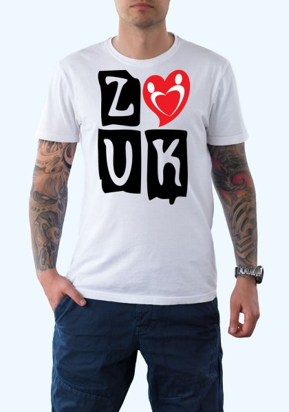 """Man wearing Zouk T-shirt decorated with """"deeply connected Zouk Dancers in a unique heart design (white, crew neck style)"""