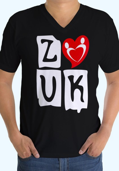 "Man wearing Zouk T-shirt decorated with ""deeply connected Zouk Dancers in a unique heart design (black, v-neck style)"