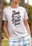 "Man wearing Zouk T-shirt decorated with unique ""Zouk feels so damn good"" design (white crew neck style)"