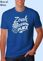 """Man wearing Zouk t-shirt decorated with """"Zouk is my HAPPY place"""" (blue, crew neck style)"""