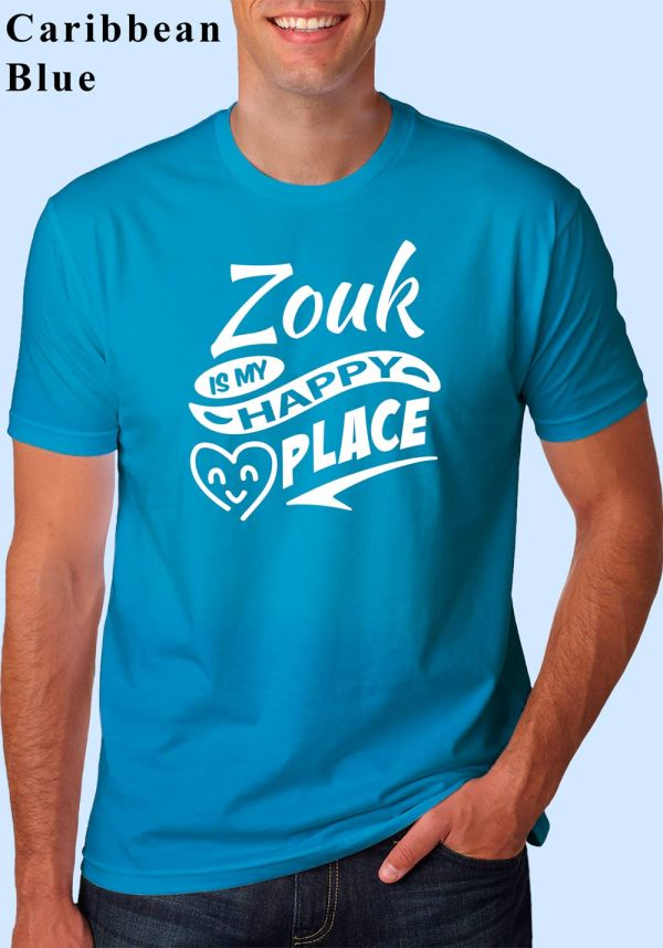 "Man wearing Zouk t-shirt decorated with ""Zouk is my HAPPY place"" (caribbean blue, crew neck style)"
