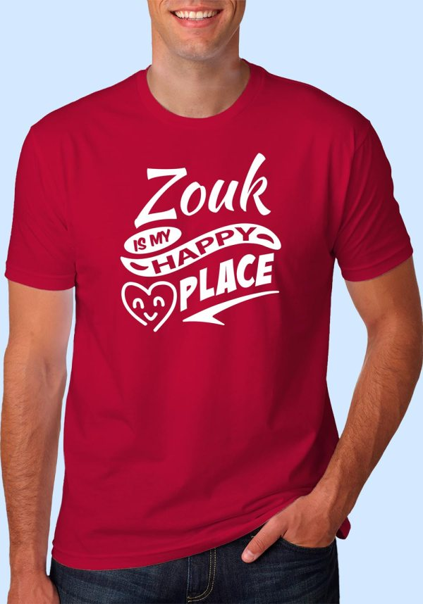 "Man wearing Zouk t-shirt decorated with ""Zouk is my HAPPY place"" (red, crew neck style)"