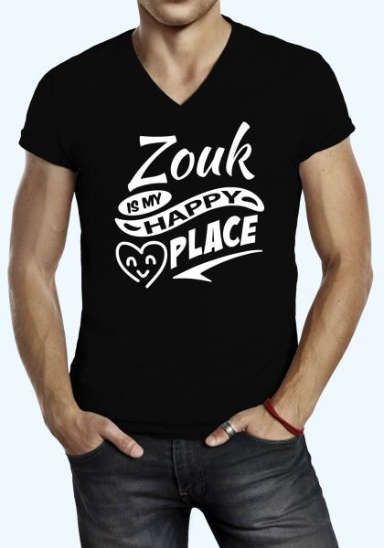 "Man wearing Zouk t-shirt decorated with ""Zouk is my HAPPY place"" (black, v-neck style)"