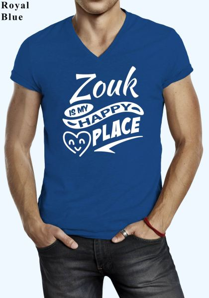 "Man wearing Zouk t-shirt decorated with ""Zouk is my HAPPY place"" (blue, v-neck style)"