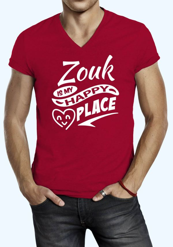"""Man wearing Zouk t-shirt decorated with """"Zouk is my HAPPY place"""" (red, v-neck style)"""