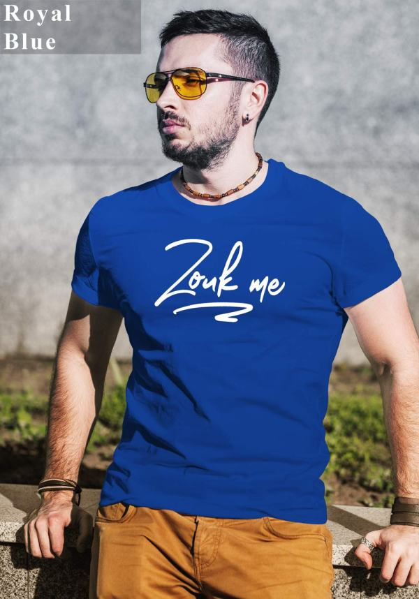 "Man wearing Zouk T-shirt decorated with unique ""Zouk me"" design (blue crew neck style)"