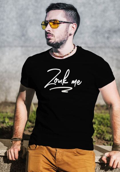 "Man wearing Zouk T-shirt decorated with unique ""Zouk me"" design (black crew neck style)"