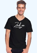 "Man wearing Zouk T-shirt decorated with unique ""Zouk me"" design (black v-neck style)"