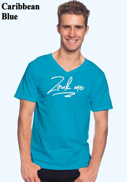 "Man wearing Zouk T-shirt decorated with unique ""Zouk me"" design (caribbean blue v-neck style)"