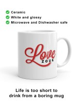Right-hand view of unique Love Zouk Coffee Mug. Made with love by Ooh La La Zouk