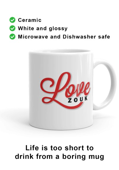 Right-hand view of unique Love Zouk Coffee Mug. Made with love by Ooh La La Zouk