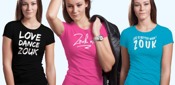 Three women wearing Zouk t-shirts you're going to wear again and again.