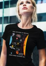 "Closeup of woman wearing unique ""James Webb Space Telescope"" t-shirt in black crew neck style"