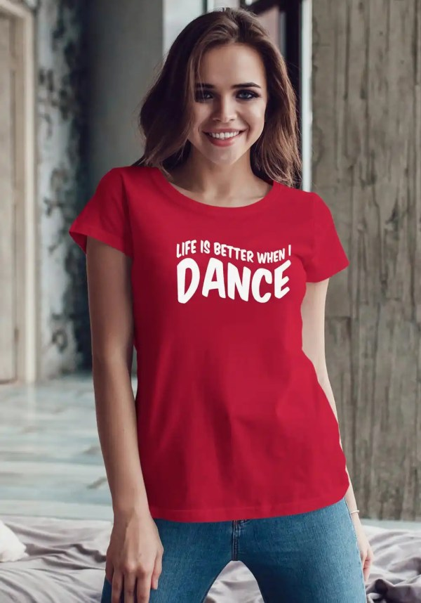 "Woman wearing Zouk T-shirt decorated with unique ""Life is better when I Dance"" design in red crew neck style"