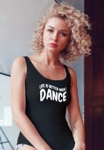 "Woman wearing Zouk T-shirt decorated with unique ""Life is better when I Dance"" design in black tank top style"