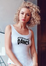 "Woman wearing Zouk T-shirt decorated with unique ""Life is better when I Dance"" design in white tank top style"