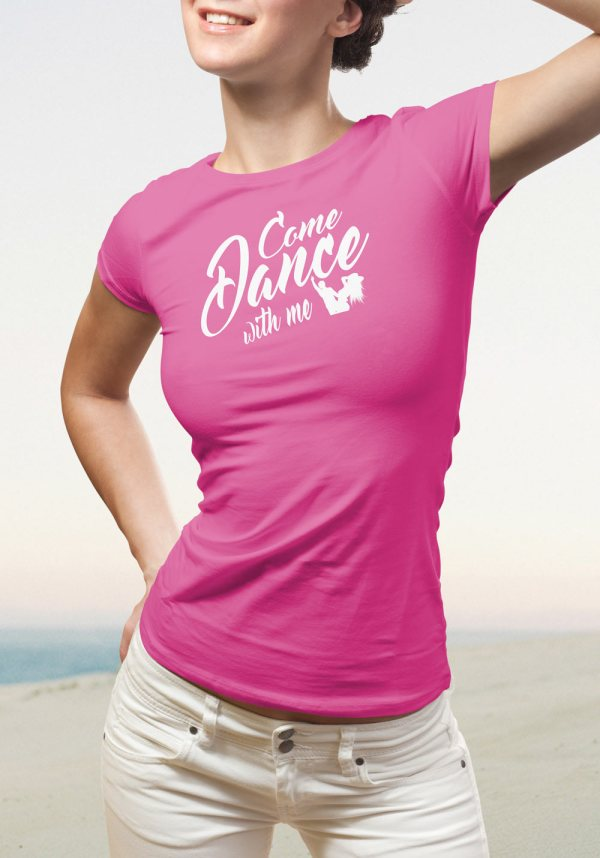 "Woman wearing Zouk T-shirt decorated with unique ""Come Dance with me"" design in pink crew neck style"