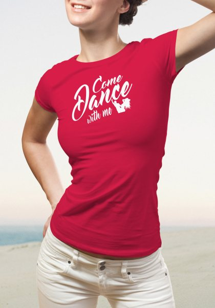 "Woman wearing Zouk T-shirt decorated with unique ""Come Dance with me"" design in red crew neck style"
