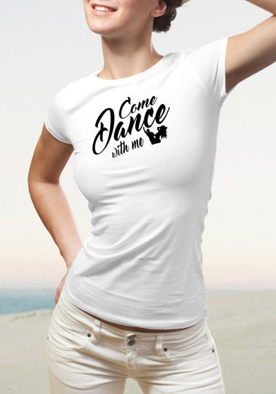 "Woman wearing Zouk T-shirt decorated with unique ""Come Dance with me"" design in white crew neck style"