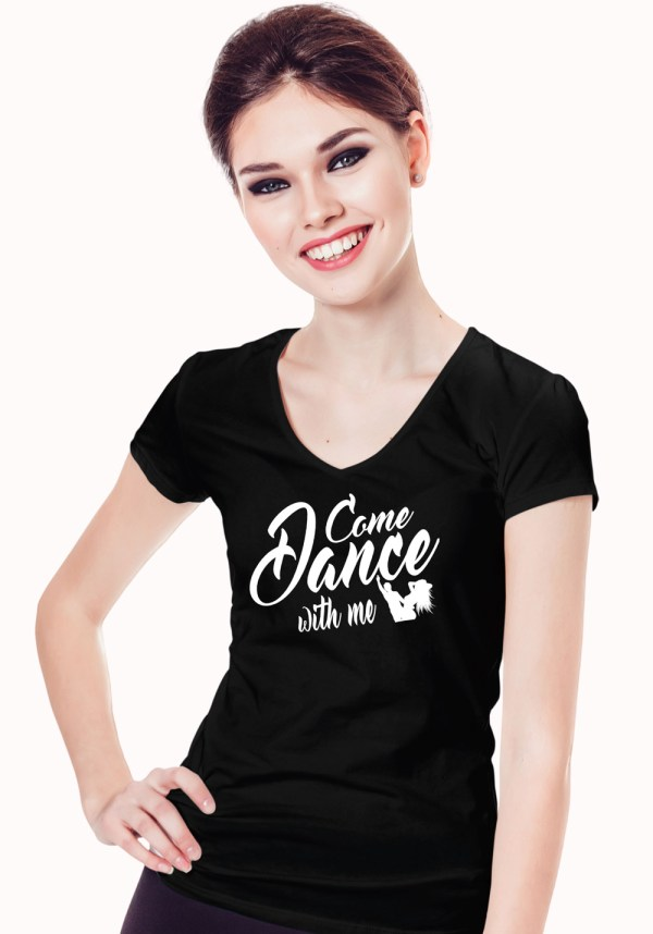 """Woman wearing Zouk T-shirt decorated with unique """"Come Dance with me"""" design in black v-neck style"""