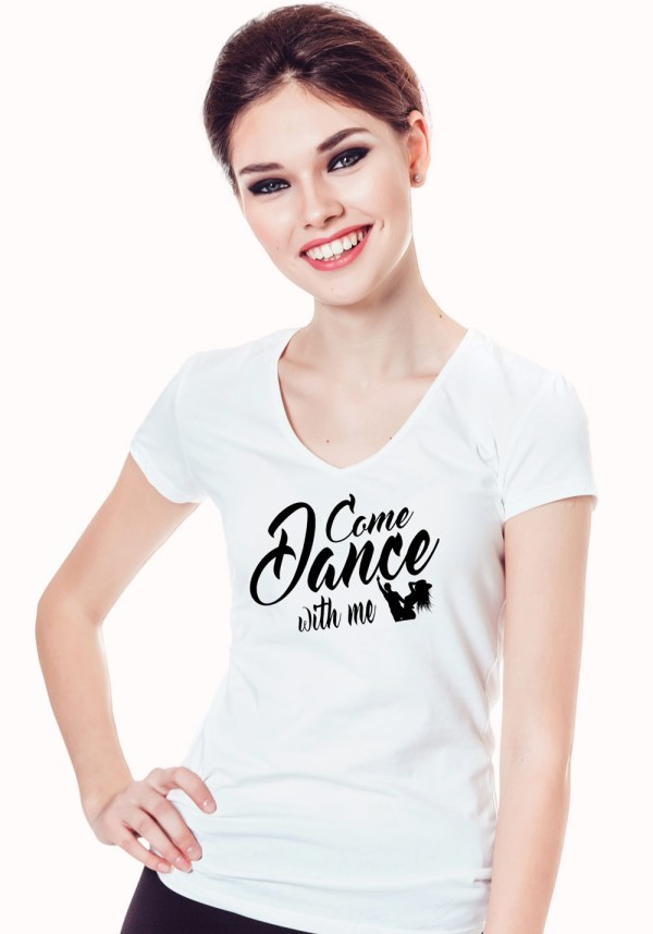 """Woman wearing Zouk t-shirt decorated with unique """"Come Dance with me"""" design in white v-neck style"""
