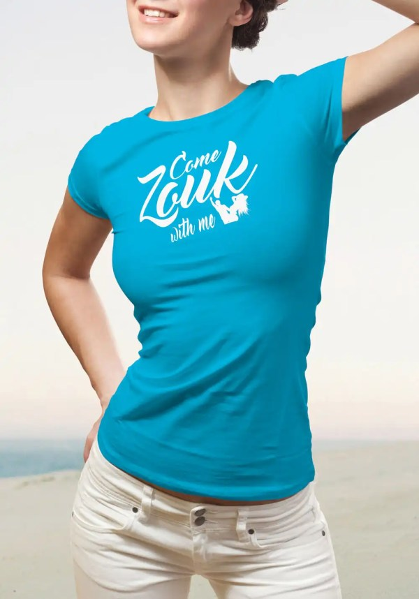 """Woman wearing Zouk T-shirt decorated with unique """"Come Zouk with me"""" design in blue crew neck style"""
