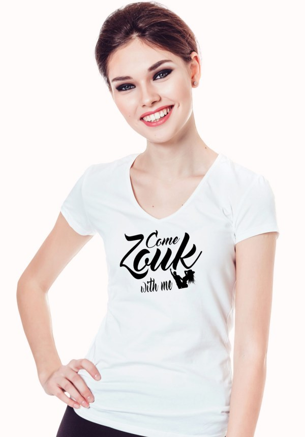 "Woman wearing Zouk T-shirt decorated with unique ""Come Zouk with me"" design in white v-neck style"