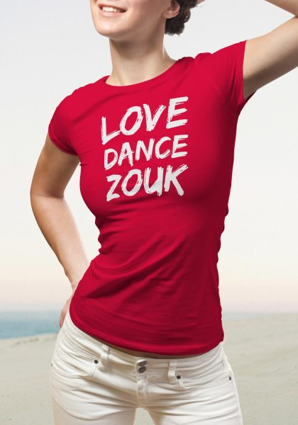 "Woman wearing Zouk T-shirt decorated with unique ""Love Dance Zouk"" design in red crew neck style"