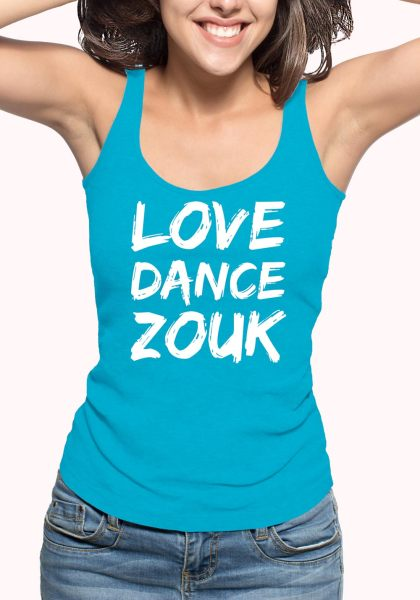 "Woman wearing Zouk T-shirt decorated with unique ""Love Dance Zouk"" design in blue tank top style"