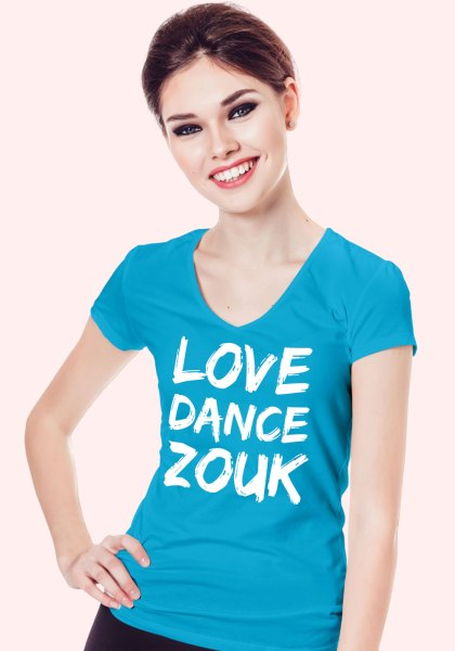 "Woman wearing Zouk T-shirt decorated with unique ""Love Dance Zouk"" design in blue v-neck style"