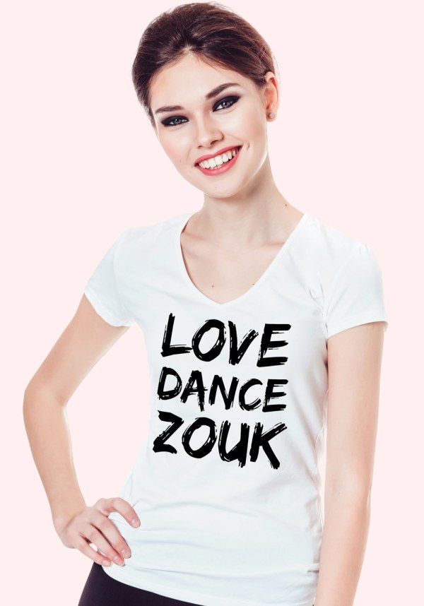 "Woman wearing Zouk T-shirt decorated with unique ""Love Dance Zouk"" design in white v-neck style"