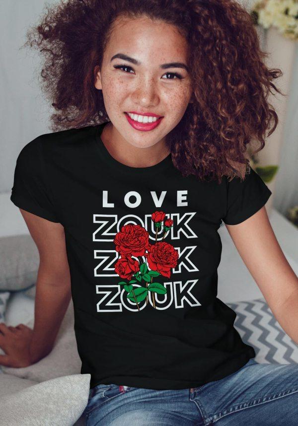 Woman wearing Zouk T-shirt decorated with unique Zouk Bouquet design (black crew neck style)