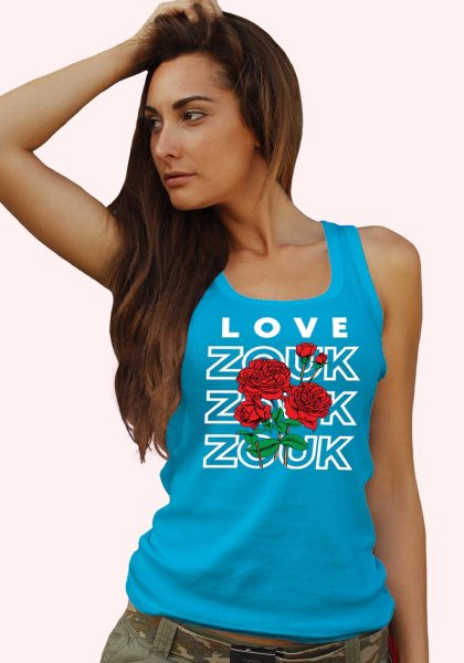 Woman wearing Zouk T-shirt decorated with unique Zouk Bouquet design (blue tank top style) close up view