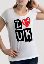 "Woman wearing Zouk T-shirt decorated with ""deeply connected Zouk Dancers in a unique heart design (white, crew neck style) close-up"