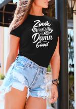 "Woman wearing Zouk T-shirt decorated with unique ""Zouk feels so damn good"" design (black crew neck style)"