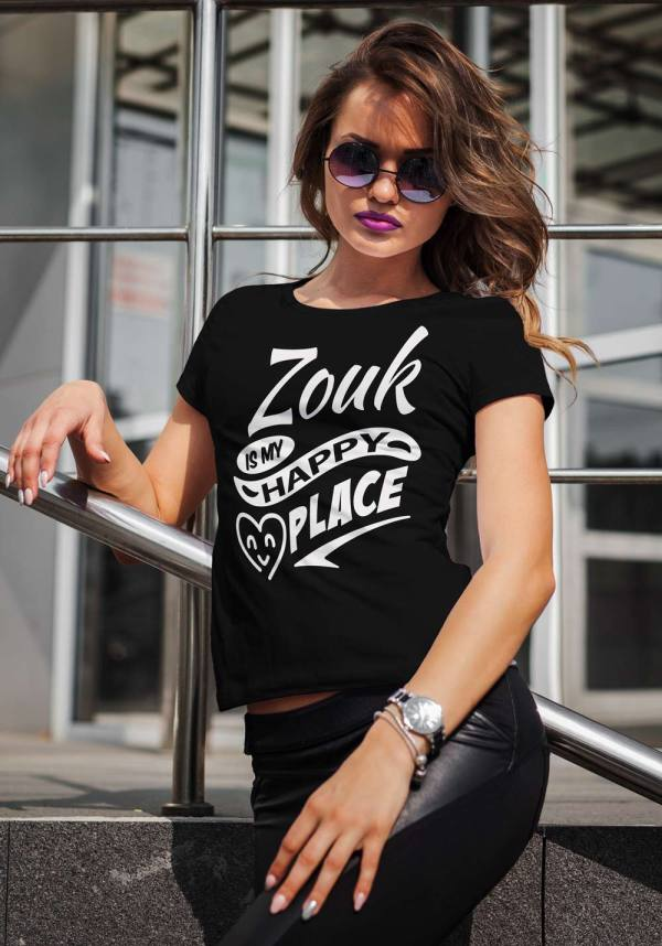 "Woman wearing Zouk T-shirt decorated with unique ""Zouk is my happy place"" design (black crew neck style)"