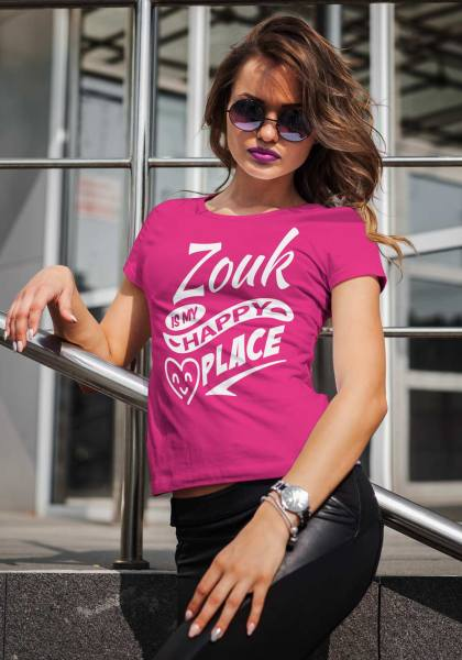 """Woman wearing Zouk T-shirt decorated with unique """"Zouk is my happy place"""" design (pink crew neck style)"""