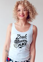 """Woman wearing Zouk T-shirt decorated with unique """"Zouk is my happy place"""" design (white tank top style)"""