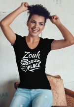 "Woman wearing Zouk T-shirt decorated with unique ""Zouk is my happy place"" design (black v-neck style)"