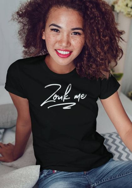 "Woman wearing Zouk T-shirt decorated with unique ""Zouk me"" design (black crew neck style)"