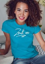 "Woman wearing Zouk T-shirt decorated with unique ""Zouk me"" design (blue crew neck style)"