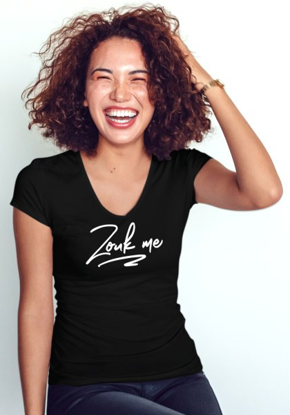 """Woman wearing Zouk T-shirt decorated with unique """"Zouk me"""" design (black v-neck style)"""
