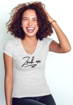 "Woman wearing Zouk T-shirt decorated with unique ""Zouk me"" design (white v-neck style)"