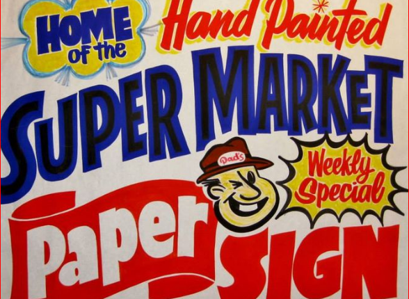 hand painted supermatrket sign