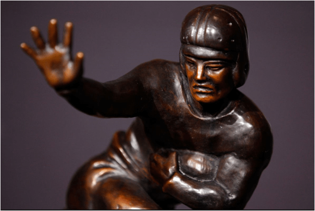 close up of Heisman Trophy