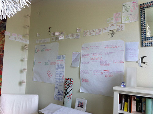 Notecards on the wall