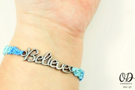 on wrist Believe Friendship Bracelet Free Pattern @Oombawkadesign